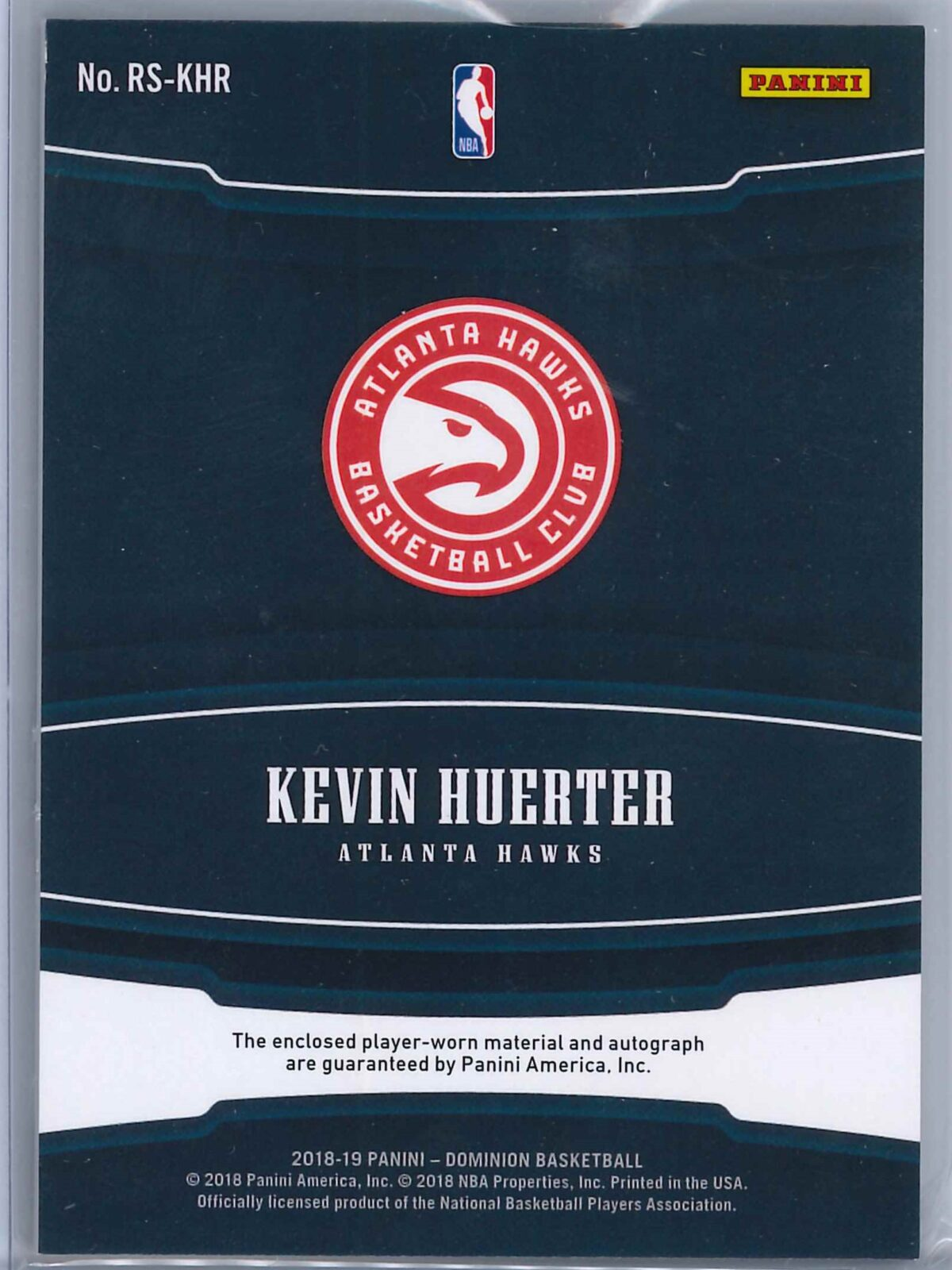Kevin Huerter Panini Dominion 2018-19 Rookie Showcase Patch Auto Gold 07/10