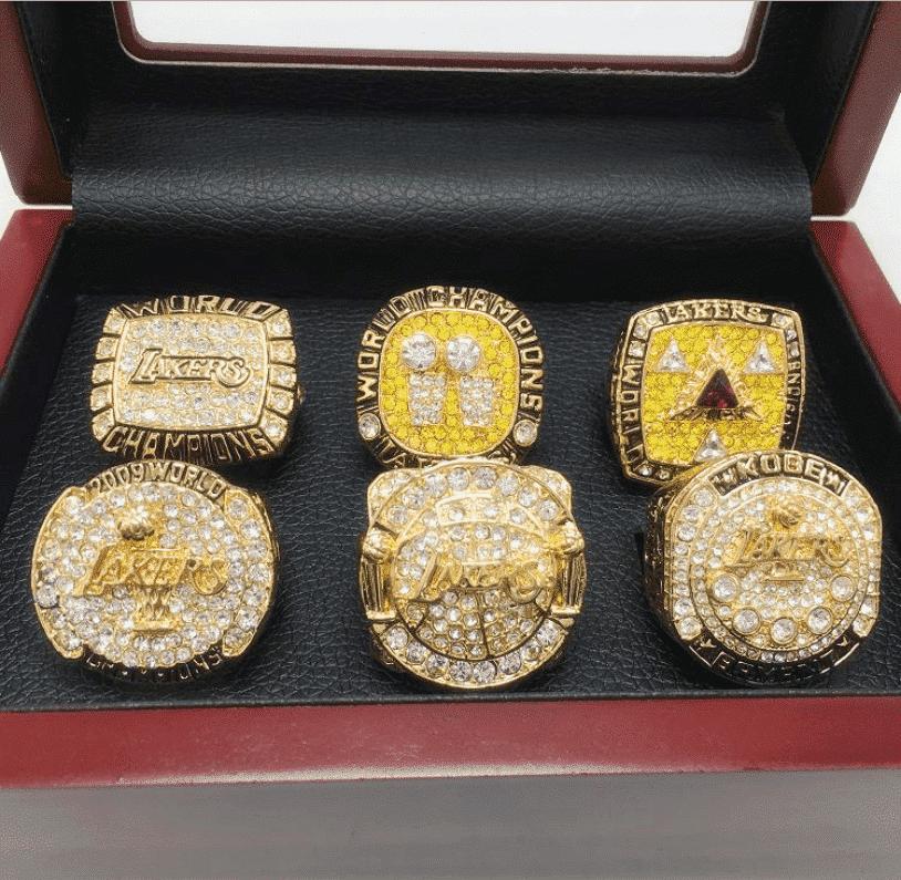 Kobe Bryant Mamba Los Angeles Lakers Championship 6 Rings Set Wooden Box