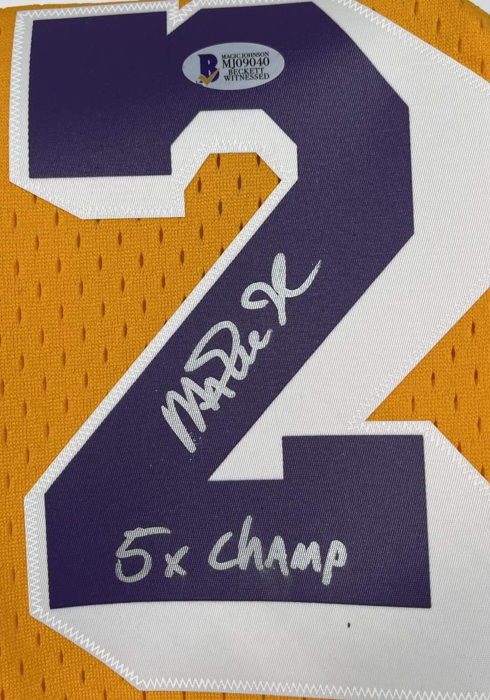 "Lakers Magic Johnson ""5x Champ"" Signed 84-85 M&N HWC Swingman Yellow Jersey [BAS MJ09040]"