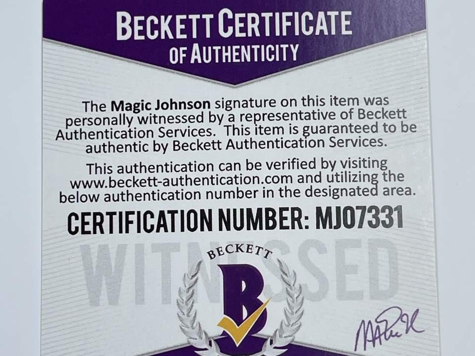 "Lakers Magic Johnson ""HOF 02"" Signed 84-85 M&N HWC Purple Jersey [BAS MJ07331]"