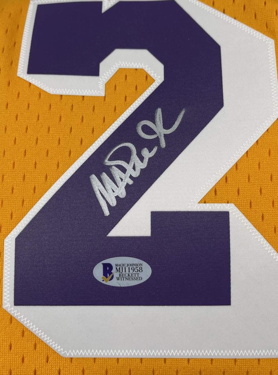Lakers Magic Johnson Signed 1984-85 M&N HWC Swingman Yellow Jersey [BAS MJ11958]