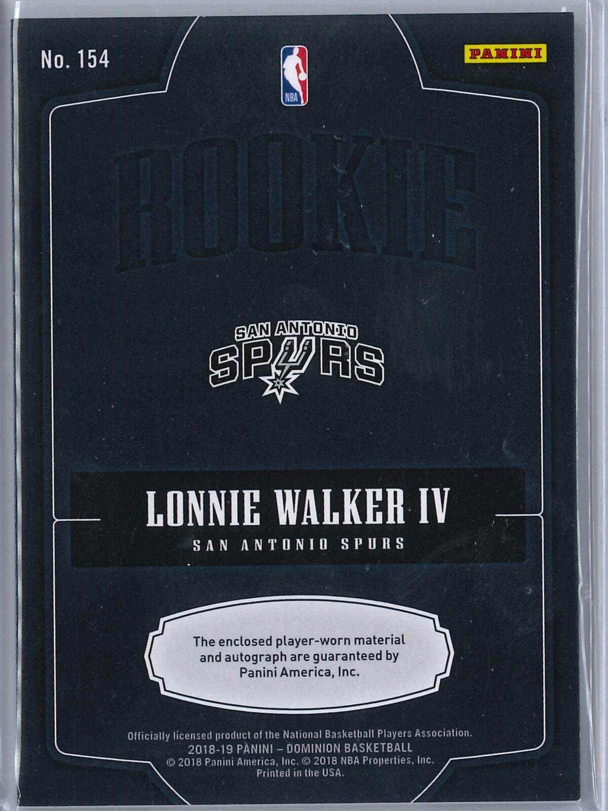 Lonnie Walker IV Panini Dominion 2018-19 RPA Silver Holo 12/15