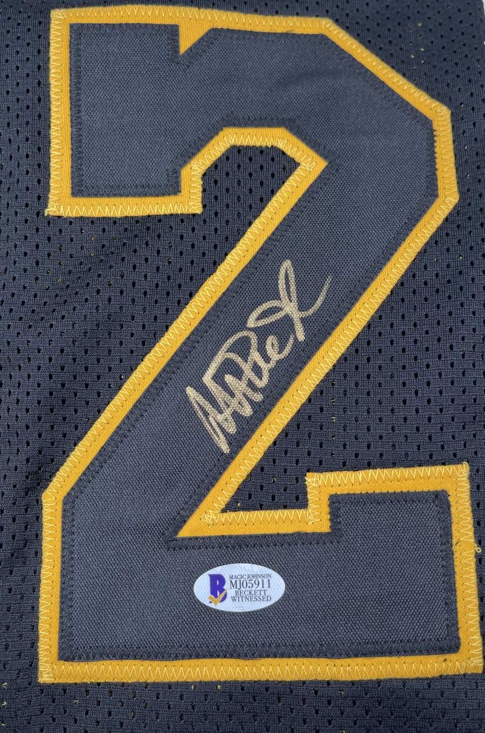 Magic Johnson Signed Black Pro Style Jersey Black Numbers Gold Trim [BAS MJ05911]