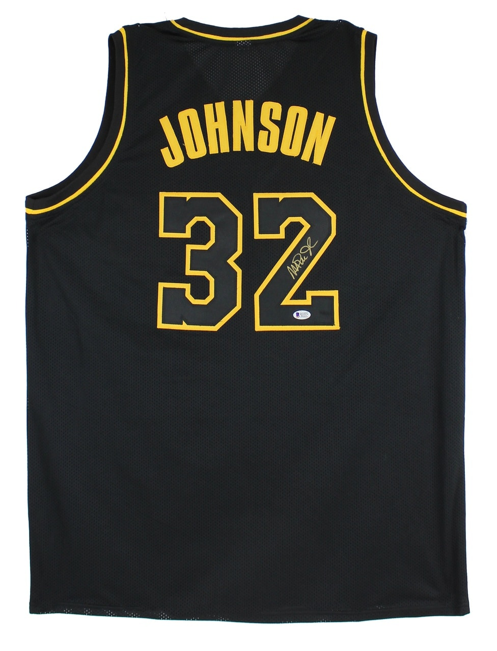 Magic Johnson Signed Black Pro Style Jersey Black Numbers Gold Trim BAS Witness
