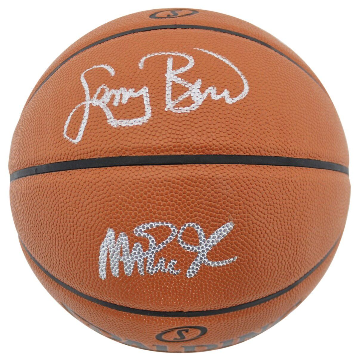 Magic Johnson & Larry Bird Authentic Signed Spalding Basketball BAS Witnessed