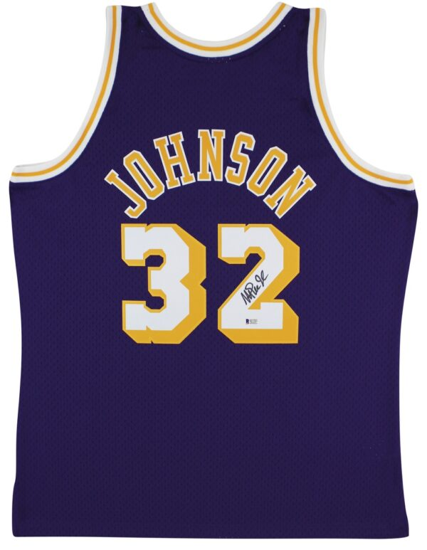 Lakers Magic Johnson Signed 1984-85 M&N HWC Swingman Purple Jersey BAS Witnessed