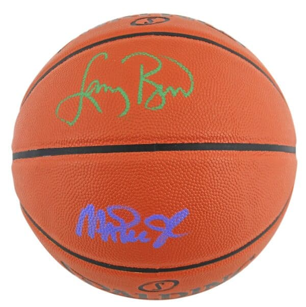 Magic Johnson & Larry Bird Authentic Signed Spalding Basketball BAS Witnessed 2